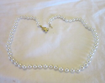 18 inch Glass Faux Pearl Necklace