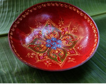Coconut Bowl Hand Painted Classic Oriental Decorative Multipurpose Handmade Coconut Shell Handcraft Bowl (PC 49)