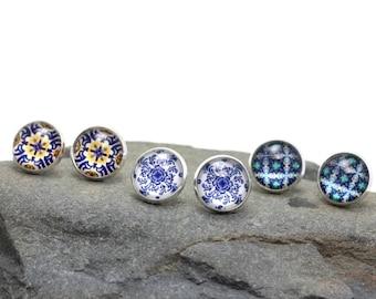 Stud portuguese earrings, everyday colorful earrings, small tile earrings, ear studs, glass casual earrings, Portugal gift for women