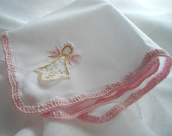 Angel Keepsake Handkerchief For A Memento Wedding Communion Baptism Religious Hand Embroidered Crochet by handcraftusa