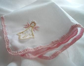 Angel Keepsake Handkerchief For A Memento Wedding Communion Baptism Religious Hand Embroidered Crochet by handcraftusa