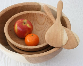 Salad bowl set, eco friendly reclaimed cherry wood, 3 bowls & serving paddles, sustainable handmade table ware.