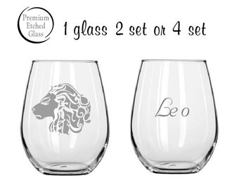 zodiac sign gifts,Leo sign,Etched wine glasses,etched wine glasses,birthday gifts,stemless wine glass,personalized gift