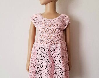 Rounded Yoke Lacy Shells Dress Crochet Pattern *PDF FILE ONLY* Instant Download