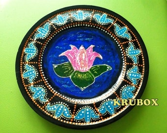 Hand painted wooden pie plate on stand 21.5 cm (8.5 in)   Wood   & Decorative pie plate   Etsy