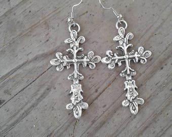 Cross Earrings. Women's Gifts 5 dollars. Gifts under 10 dollars. Affordable jewelry.