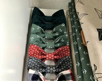 Male bow tie, adult bow tie, green bow tie, patterns blue bow tie