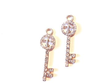 Small Pair of Rhinestone Skeleton Key Fleur de Lis Charms