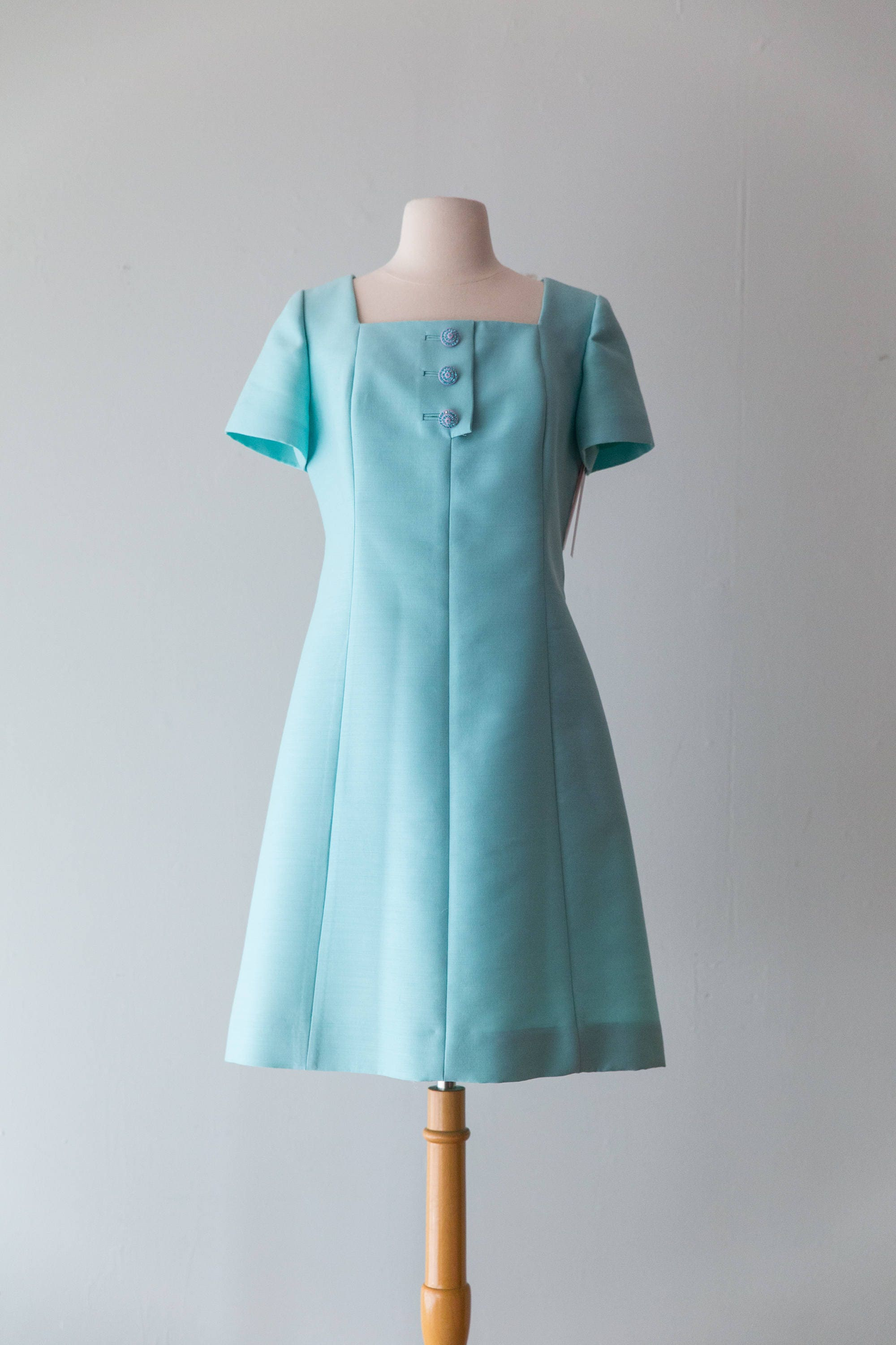 Vintage 1960s Dress 60s Structured Silk Cocktail Dress With