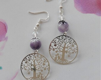 Tree of life earrings, cats and Amethyst