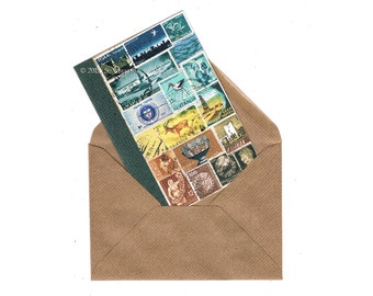 Mail Art Landscape Notecard | Eclectic Bon Voyage Travel Note Card | Boho Blue Brown Postage Stamp Collage Art Print, blank A6 greeting card