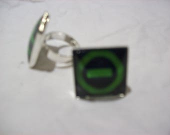 "Fully Adjustable Type O negative inspired ""logo"" Square Ring"