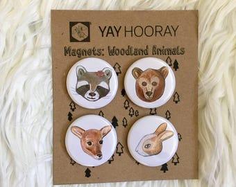 Woodland Animals, pin button badges, magnets hand drawn illustrations, Raccoon, Bear, Deer, Rabbit, watercolor