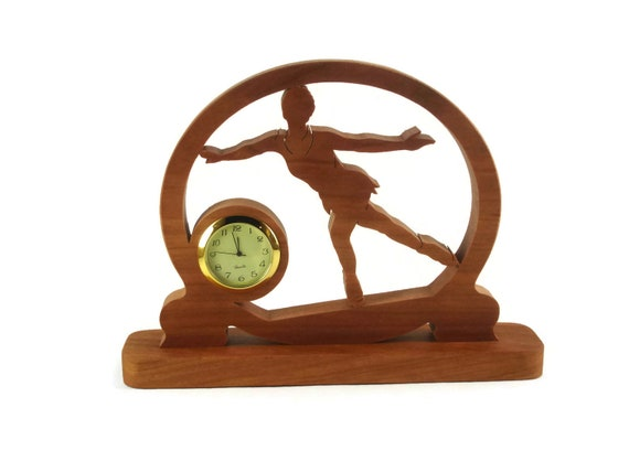 Figure Skating Ice Skater Desk Clock Handmade From Cherry Wood By KevsKrafts