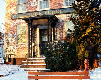 Brick building photography, Comstock, Ferre & CO.,  winter, Old Wethersfield CT, antiques, new england building, home decor