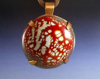 Red and White Domed Copper Enamel Pendant Necklace