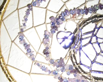 Purple Amethyst Dream Catcher, represents  month of February  the astrological Pisces and 8 inches with small star catchers dangles