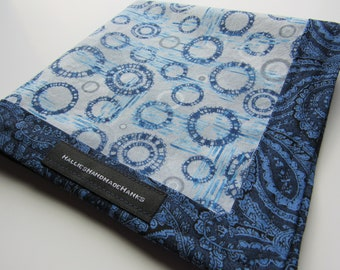 EDC Hank Handmade Hank Blue Circles and Paisley Everyday Carry Pocket Dump Hank Mens Handkerchief Gift for Him Gift for Her
