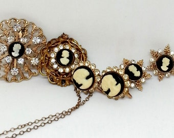 Cameo Collection Jewelry, Pendant, Screw Back Earrings, Scatter Pins, Brooch, Gold Tone Filigree Rhinestones Jewelry