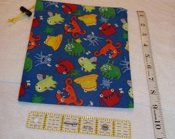 Cute Monsters Handmade Drawstring Bag