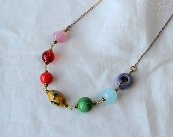 Rainbow Necklace, Vintage Beads, Peanut Chain, Vintage Chain