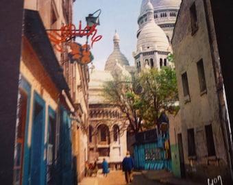 Vintage Postcard of Paris - Sacre Coeur - Lights and Colors of Paris - mid century - JVoyage vue de la rue du Chevalier-de-la-Barre