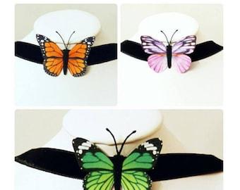 Butterfly choker - Butterfly necklace - butterfly pendant - butterfly collar - fairy, faery, faerie, fae.