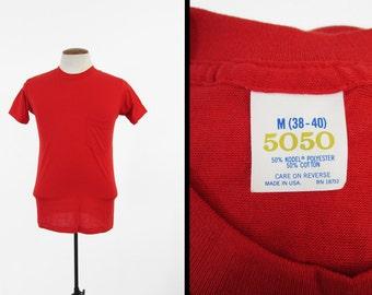Vintage 80s Red Pocket T-shirt 5050 Mechanic Tee Undershirt Made in USA - Small / Medium