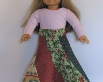 """Red, Green, Beige  Spiral Skirt made to fit American Girl Doll Clothes 18"""""""