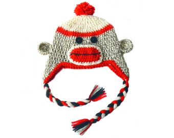 Crochet Sock Monkey Hat, Adult Sock Monkey Hat, Mens Sock Monkey, Kids Sock Monkey Knit Hat, Womens Wool Winter Hat Red Black White Wool Hat