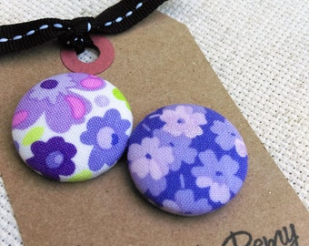 Needle Minder, Flowers, Purple, Floral, 2 Piece Reversible Scout and Remy, For Cross Stitch, Sewing, Embroidery