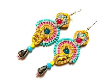 Muszka - Soutache Earrings, colorful earrings, boho and folk, bright, optimistic jewelry