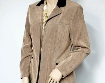 Veste Vintage Zip Up Blazer veste marron à chevrons en peluche col noir taille 1980 8