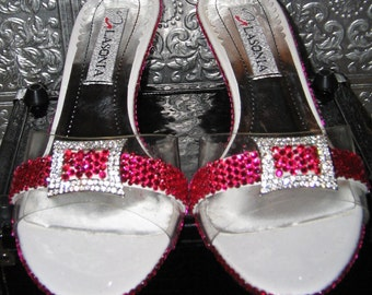 white patent kitten heel slide sandals with pink crystal rhinestones and pink glittered soles