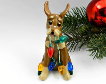 Doberman Pinscher Miniature Pinscher Porcelain Christmas Ornament Red and Rust