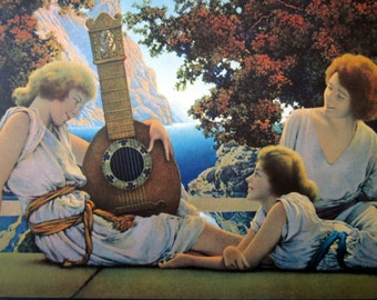 Maxfield Parrish, The Lute Players, vintage art lithograph print