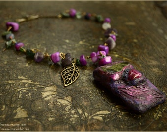 Purple woodland necklace faerie with green serpentine stone and agate -  fairy OOAK Handmade jewelry sculpt