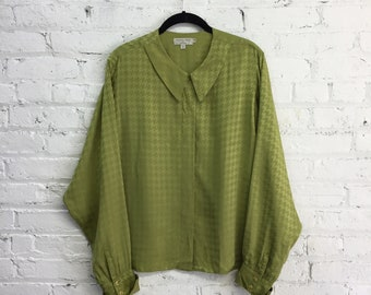 vintage chartreuse silk blouse / lime green silk button down shirt / 90s silky top