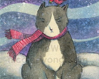 Original ACEO Drawing and Painting -- Grumpy Winter