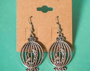 Birdcage with Bird Silver Metal Earrings