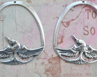 Brass Bird Pendants, TWO, Sterling Silver Finish, Brass Stampings, Bird Charms, Bird Earrings, Jewelry Supplies Made in the USA