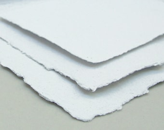 White paper sample set, wedding invitation, handmade recycled papers, deckle edge, 3 sheets