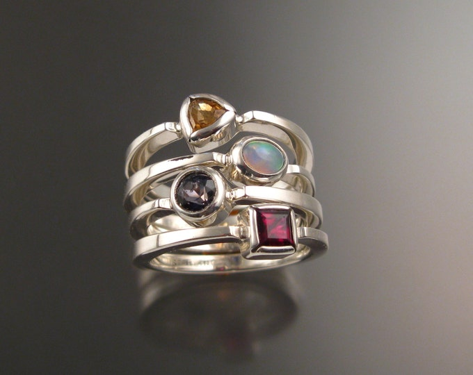 Stackable Mothers Birthstone ring set of Four Sterling silver premium birthstone rings Made to order in your size