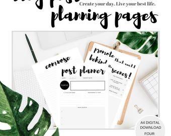 Blog Planner   Blog post planner   Social media planner   blog post printable   Blog business planner digital download. Blog content planner