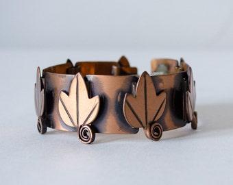 1950s vintage bracelet / large Rebajes modernist copper bracelet