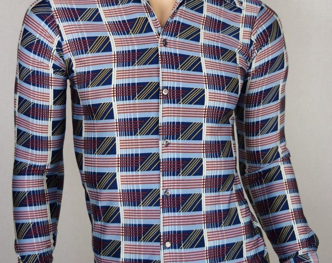 Vintage 1970's Men's  Q by Van Heusen Op ArT ReTrO ULtRa MOD DiScO Shirt Size S XS 39 38