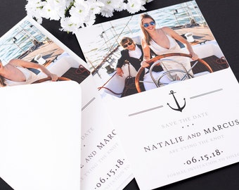 "Save The Date Cards - 5"" x 7"" Formal Nautical Wedding Announcement Cards - Save The Date - Personalized Save the Date Card - #satd-150b"