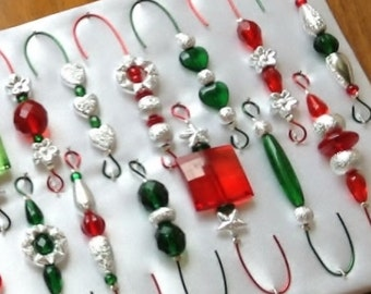 Ornament Hangers -  Stardust Silver Red and Green on Red and Green Wire - FREE SHIPPING