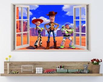 TOY STORY Buzz Woody & Jessie Kids Window Effect Vinyl Wall Art Sticker (p6)