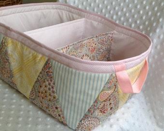 "XL Padded Fabric Diaper Caddy-Large 14""x10""x7"" Basket-2 Divider Storage  Organiser-Baby Shower Gift-Designer fabric basket"